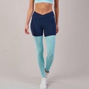 Gymshark Navy/Mint Yoga Workout leggings XS